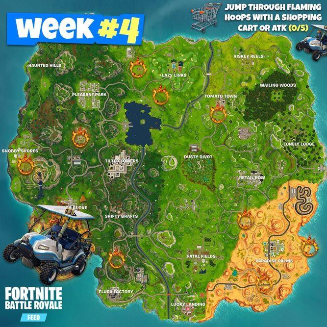 Todos Los Desafios De La Semana 4 De La Temporada 5 De Fortnite