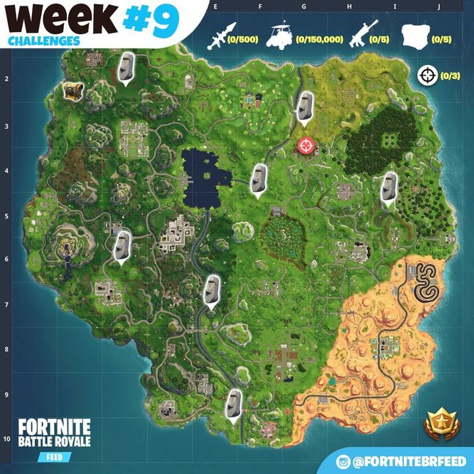 Mapa Fortnite Temporada 5 Español.Todos Los Desafios De La Semana 9 De La Temporada 5 De