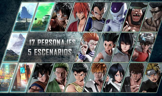Personajes y escenarios de la beta de Jump Force